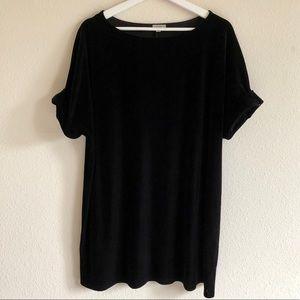 Ecote Black Velvet T-Shirt Dress